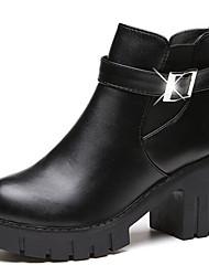 Недорогие -женская обувь pu rubber fall зимняя мода ботинки ботинки сапоги сапоги / ботильоны для случайного коричневого черного