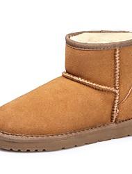 preiswerte -Damen Schuhe Wildleder Winter Schneestiefel Flaum Futter Stiefel Ski-Schuhe Booties / Stiefeletten Für Normal Schwarz Beige Grau Kaffee