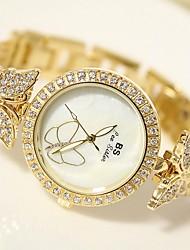 baratos -Mulheres Relógio de Pulso Japanês Aço Inoxidável Banda Prata / Dourada