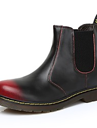 baratos -Homens sapatos Courino Couro Primavera Outono Conforto Botas para Casual Preto Preto/Vermelho