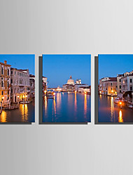cheap -E-HOME® Stretched LED Canvas Print Art City Canal Flash effect LED Set of 3