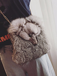 Women Bags Polyester Velvet Crossbody Bag Feathers / Fur for Casual All Season Black Beige Gray
