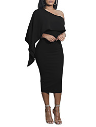cheap -Women's Daily Club Casual Sexy Bodycon Dress,Solid One Shoulder Midi Long Sleeve Polyester Summer Fall High Rise Micro-elastic Opaque
