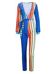 Femme Rayé Arc-en-ciel Plein Air Grandes Tailles Sexy Chic de Rue Combinaison-pantalon,Mince Collants Manches Longues V Profond