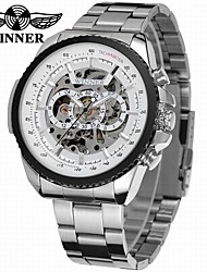 cheap -WINNER Men's Automatic self-winding Mechanical Watch Wrist Watch Hollow Engraving Stainless Steel Band Luxury Vintage Casual Dress Watch