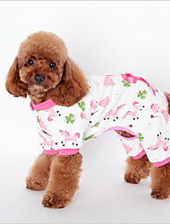cheap -Cat Dog Sweatshirt Pajamas Dog Clothes One Piece Casual/Daily Leisure Animal Yellow Blue Pink Costume For Pets