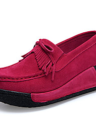 cheap -Women's Shoes Suede Fall / Winter Comfort Loafers & Slip-Ons Swing Shoes Black / Gray / Red