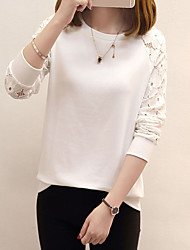 cheap -Women's Going out Cute Winter T-shirt,Solid Round Neck Long Sleeve Cotton Medium