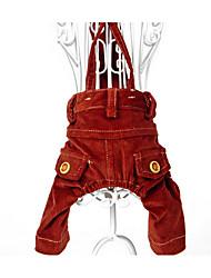 economico -Cane Pantaloncini Abbigliamento per cani Casual Solidi Marrone Costume Per animali domestici