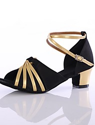 cheap -Women's Latin Shoes Customized Materials Heel Customized Heel Customizable Dance Shoes Black / Gold / Indoor