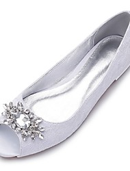 cheap -Women's Shoes Lace Satin Fabric Spring Summer Comfort Wedding Shoes Peep Toe Rhinestone Sparkling Glitter for Wedding Dress Party &