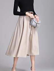 cheap -Women's Going out Midi Skirts A Line Solid Winter