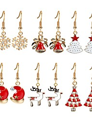 cheap -Women's Cubic Zirconia Drop Earrings - Zircon, Gold Plated Christmas Tree Rainbow For Christmas / New Year