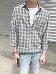 Langærmet Krave Herrer Trykt mønster Gade I-byen-tøj Afslappet/Hverdag Skjorte,Polyester