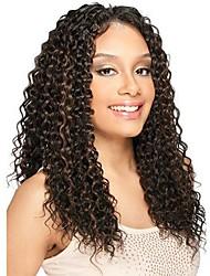 Kvinder Blondeparykker af menneskehår Brasiliansk Menneskehår Blonde Front 130% Massefylde Kinky Krøller Paryk Rødblondt Medium Rødbrun