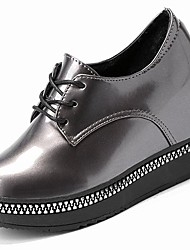 cheap -Women's Shoes Patent Leather Winter Light Soles Fluff Lining Oxfords Flat Heel Round Toe for Casual Black Silver