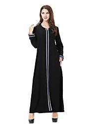 abordables -Femme Grandes Tailles Ample Abaya / Jalabiyah / Kaftan Robe - Brodée, Couleur Pleine Midi / Automne