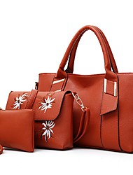 preiswerte -Damen Taschen PU Bag Set 3 Stück Geldbörse Set Stickerei für Ganzjährig Schwarz Rote Braun