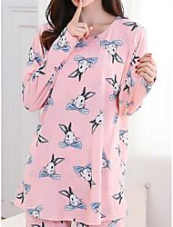 cheap -Women's Babydoll & Slips Pajamas,Print Print Polyester Blushing Pink