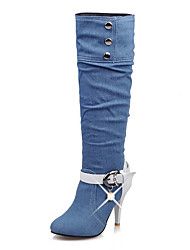 Women's Shoes Denim Fall Winter Cowboy / Western Boots Boots Round Toe Mid-Calf Boots Rhinestone Imitation Pearl Buckle Chain For Casual