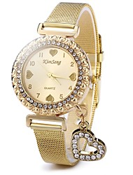cheap -Women's Casual Watch Fashion Watch Pave Watch Chinese Quartz Casual Watch Stainless Steel Band Sparkle Heart shape Casual Gold