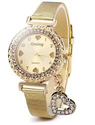 abordables -Mujer Reloj de Cristal Pavé Chino Reloj Casual Acero Inoxidable Banda Destello / Heart Shape / Casual Dorado