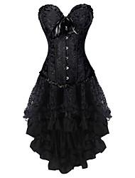 abordables -Lacet Robes Corset Femme Fleur - Moyen Noir