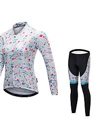 economico -Malciklo Per donna Manica lunga Maglia con pantaloni da ciclismo - Bianco Bicicletta Set di vestiti, Asciugatura rapida, Design anatomico, Strisce riflettenti Licra / Elasticizzato