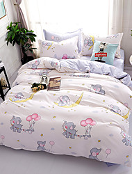 cheap -Duvet Cover Sets Floral Cartoon 4 Piece Poly/Cotton Reactive Print Poly/Cotton 4pcs (1 Duvet Cover, 1 Flat Sheet, 2 Shams) (If Twin size,