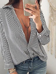 cheap -Women's Going out Vintage Sexy Shirt,Striped Shirt Collar Long Sleeves Polyester