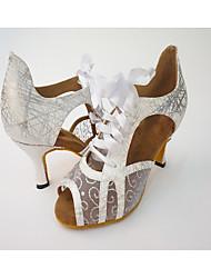 cheap -Women's Salsa Leatherette Net Heel Indoor Ribbon Tie Splicing High Heel Silver Black Gold 2.56 in (6.5cm) 2.95 in (7.5cm) 3.35 in (8.5cm)