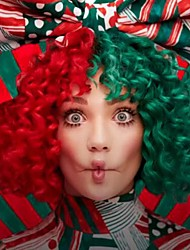 cheap -Sia's Wig Women Synthetic Wig Short Kinky Curly Half Red and Green Party Wig Celebrity Wig Fashion Snowman New Song