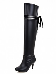 cheap -Women's Shoes PU Leatherette Winter Comfort Novelty Fashion Boots Boots Round Toe Over The Knee Boots Ribbon Tie For Party & Evening Dress