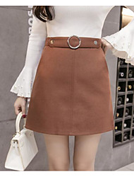 cheap -Women's Daily Mini Skirts A Line Solid Fall Winter