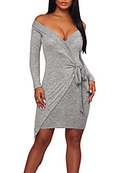 cheap -Women's Party Club Sexy Street chic Bodycon Dress,Solid Boat Neck Asymmetrical Long Sleeve Polyester Spring Fall High Rise Micro-elastic