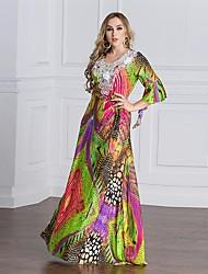 Kaftan Robe Femme Décontracté / Quotidien Imprimé Col Arrondi Maxi Manches Longues Autres Toutes les Saisons Taille Haute Non Elastique