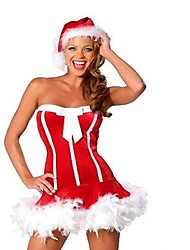 Sexy Holiday One Piece Dress Party Costume Female Christmas Carnival Birthday Masquerade Festival / Holiday Halloween Costumes Red Solid