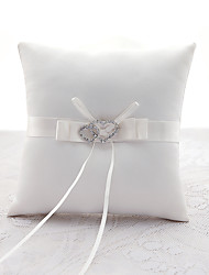 cheap -Metal Satin Silk Ring Pillows Wedding Ceremony