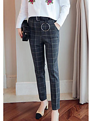 cheap -Women's High Rise Micro-elastic Business Pants,Casual Houndstooth Cotton Autumn/Fall