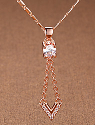 Недорогие -Жен. Простой Elegant Ожерелья с подвесками Цирконий Стразы Позолоченное розовым золотом Ожерелья с подвесками , Свадьба Для вечеринок