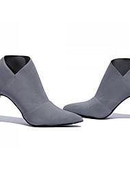 Недорогие -Для женщин Обувь Нубук Весна Осень Удобная обувь Ботильоны Ботинки Назначение Повседневные Черный Серый