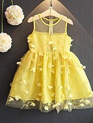 abordables -Robe Fille de Anniversaire Sortie Couleur Pleine Coton Eté Sans Manches Mignon Princesse Jaune