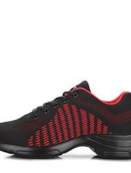 """cheap -Women's Dance Sneakers Knit Sneaker Outdoor Low Heel Black/Red Black White 2"""" - 2 3/4"""""""