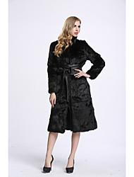 Feminino Casaco de Pêlo Casual Sofisticado Outono Inverno,Sólido Longo Pêlo de Coelho Manga Longa
