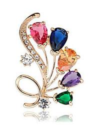Недорогие -Жен. Броши Кристалл Синтетический алмаз С цветами Классика Мода Хрусталь Искусственный бриллиант Сплав Бижутерия Назначение Повседневные
