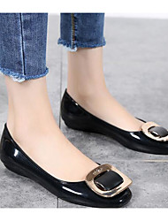 cheap -Women's Shoes PVC Leather Spring Summer Comfort Flats For Casual Almond Wine Black