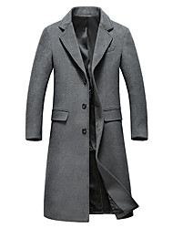 cheap -Men's Daily Simple Casual Winter Fall Trench Coat,Solid V-neck Long Sleeves Long Wool Polyester
