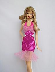 6f49211c7c94 Party serata Abiti Per Bambola Barbie Fucsia Per Ragazza Bambola giocattolo