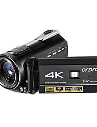 ordro ac1 4k uhd caméscope d'enregistrement 3 écran tactile ir vision nocturne wi-fi dv télécommande 128 gb carte sd