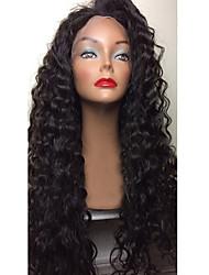 Недорогие -Натуральные волосы Бесклеевая сплошная кружевная основа / Полностью ленточные Парик Бразильские волосы Kinky Curly Парик Стрижка боб / Стрижка каскад / С пушком 130% Природные волосы / 100